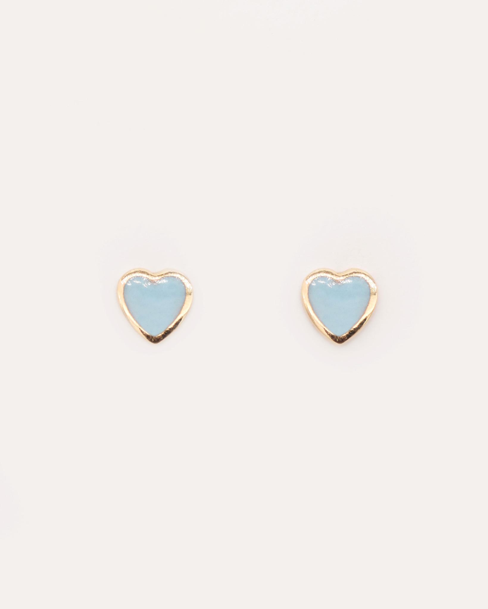 Nine Roses Enamel Heart Earrings — Blue