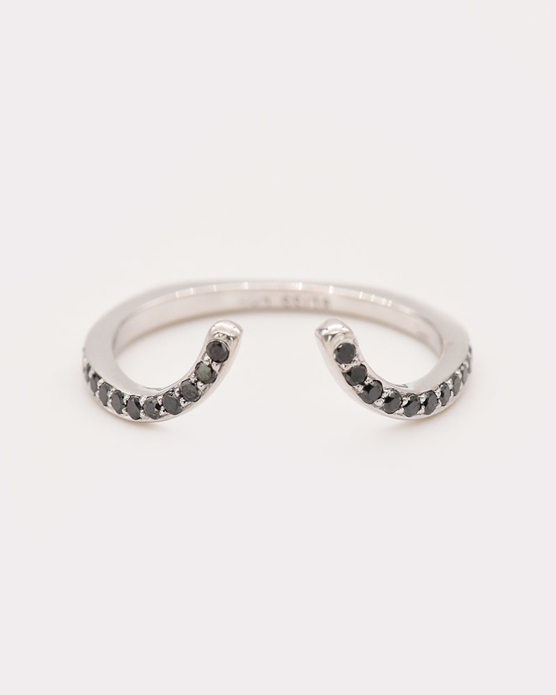 Concave Ring: Black Diamonds