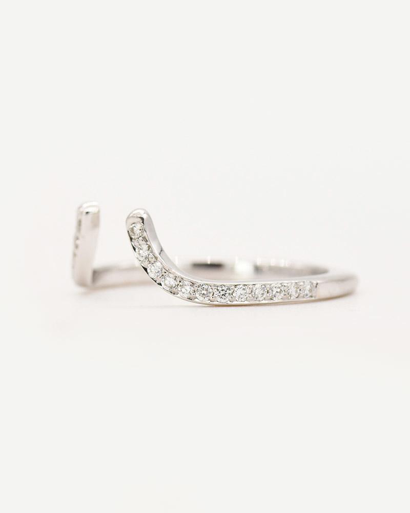 Concave Ring; white diamonds