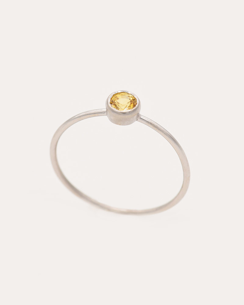Nvit Blanche Orange Sapphire Solitaire Ring