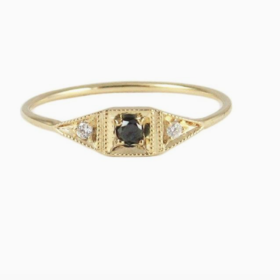Jennie Kwon Mini Deco Point Ring — Black Diamond