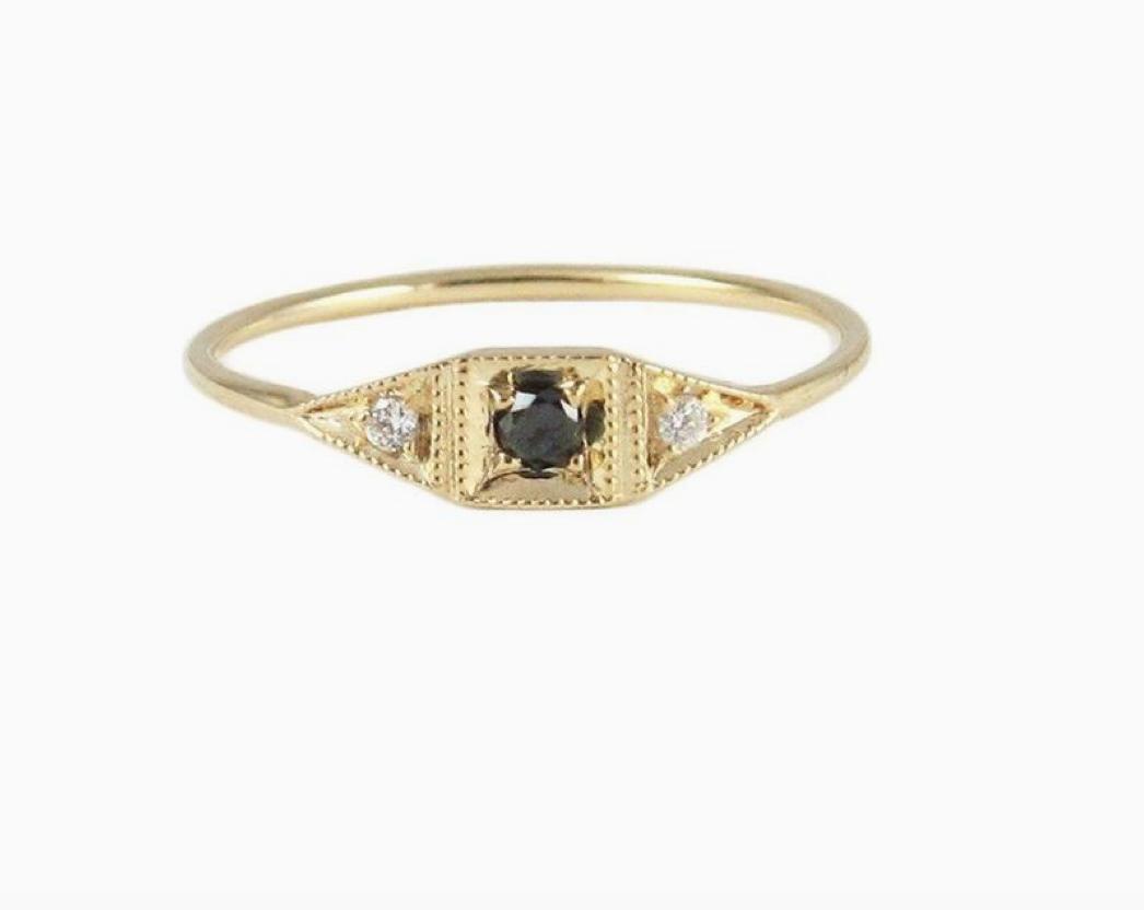 Jennie Kwon Mini Deco Point Ring — Black Diamond