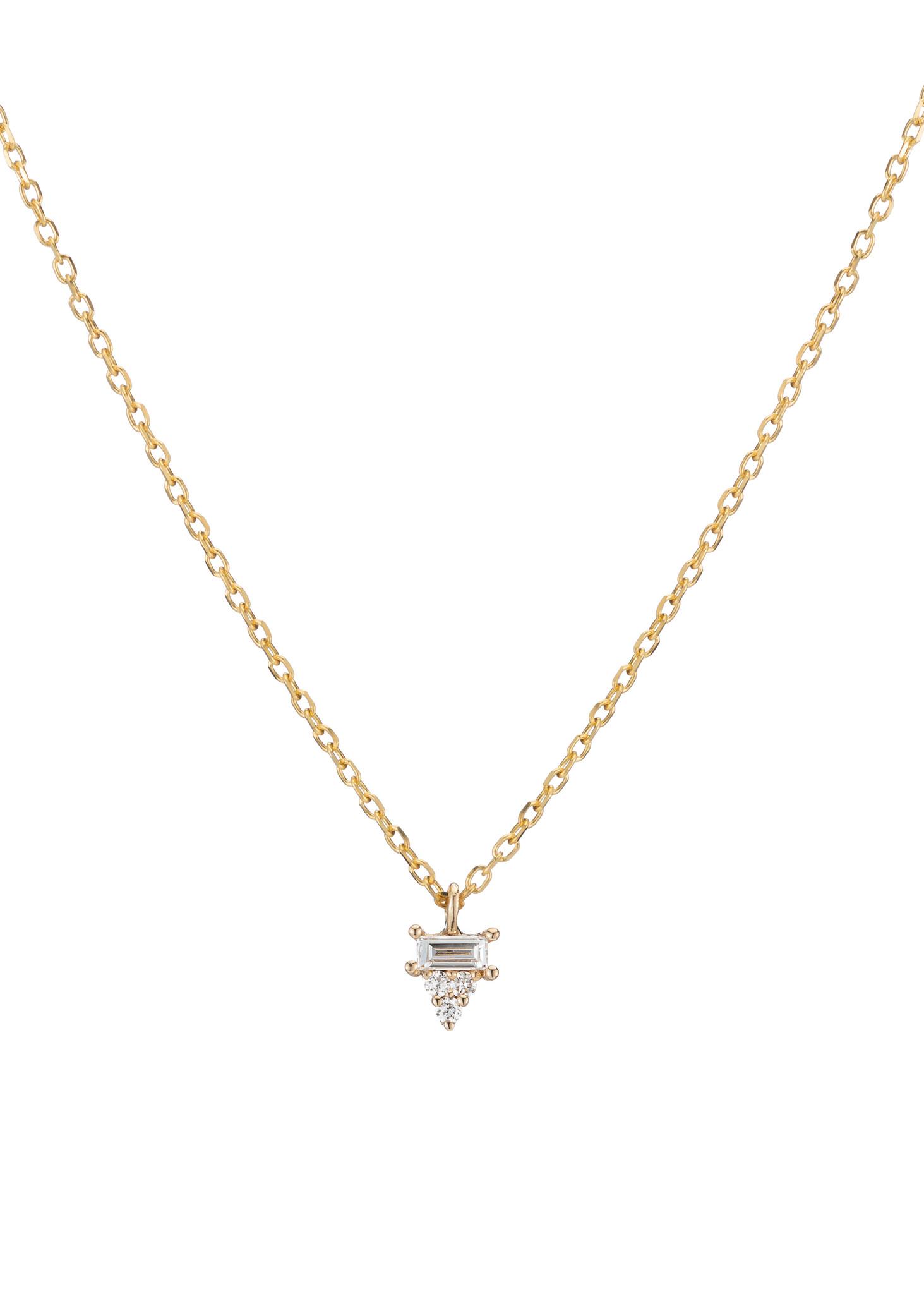 Jennie Kwon Diamond Baguette Cluster Necklace