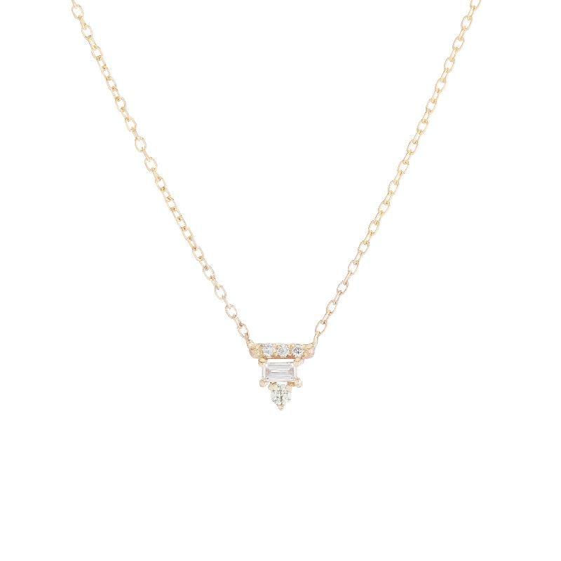 Jennie Kwon White Diamond Baguette Bar Necklace