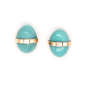 Melissa Joy Manning Bezel Turquoise Studs — Pair
