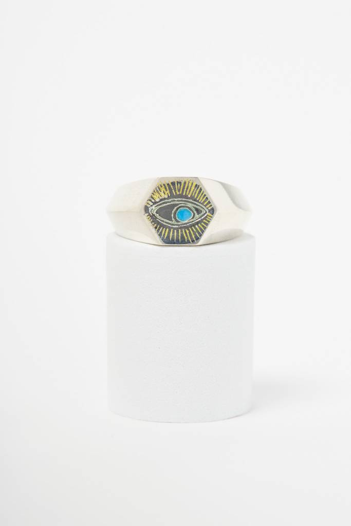 Nvit Blanche All Seeing Eye Signet Ring (Large)