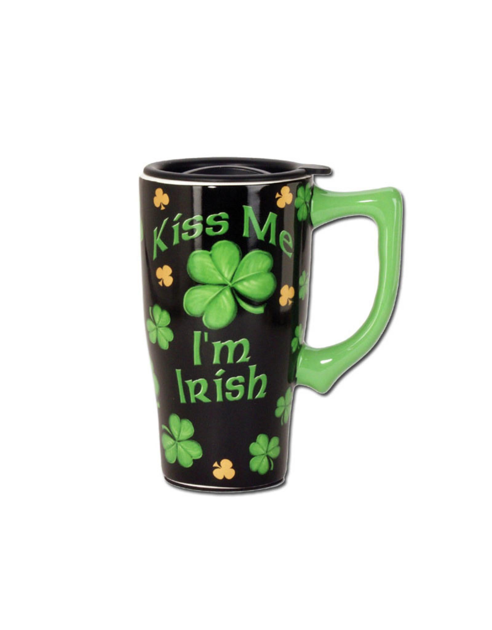 Kiss Me I'm Irish ( Ceramic Travel Mug )
