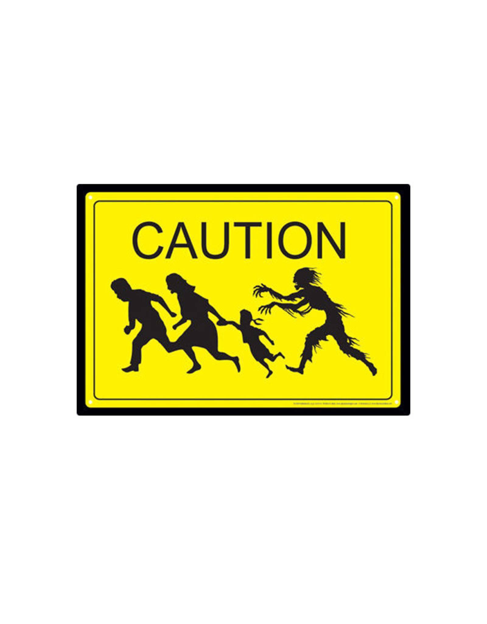 Caution Zombies ( Tin signs 8.5cm x 11.5cm )