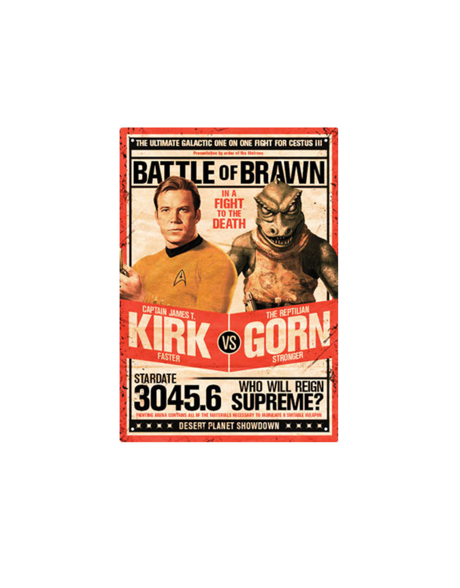 Star Trek ( Tin Signs 8.5cm x 11.5cm ) Kirk vs Gorn