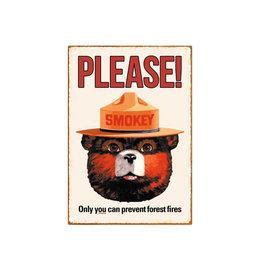 Smokey bear ( Tin signs 8.5cm x 11.5cm )