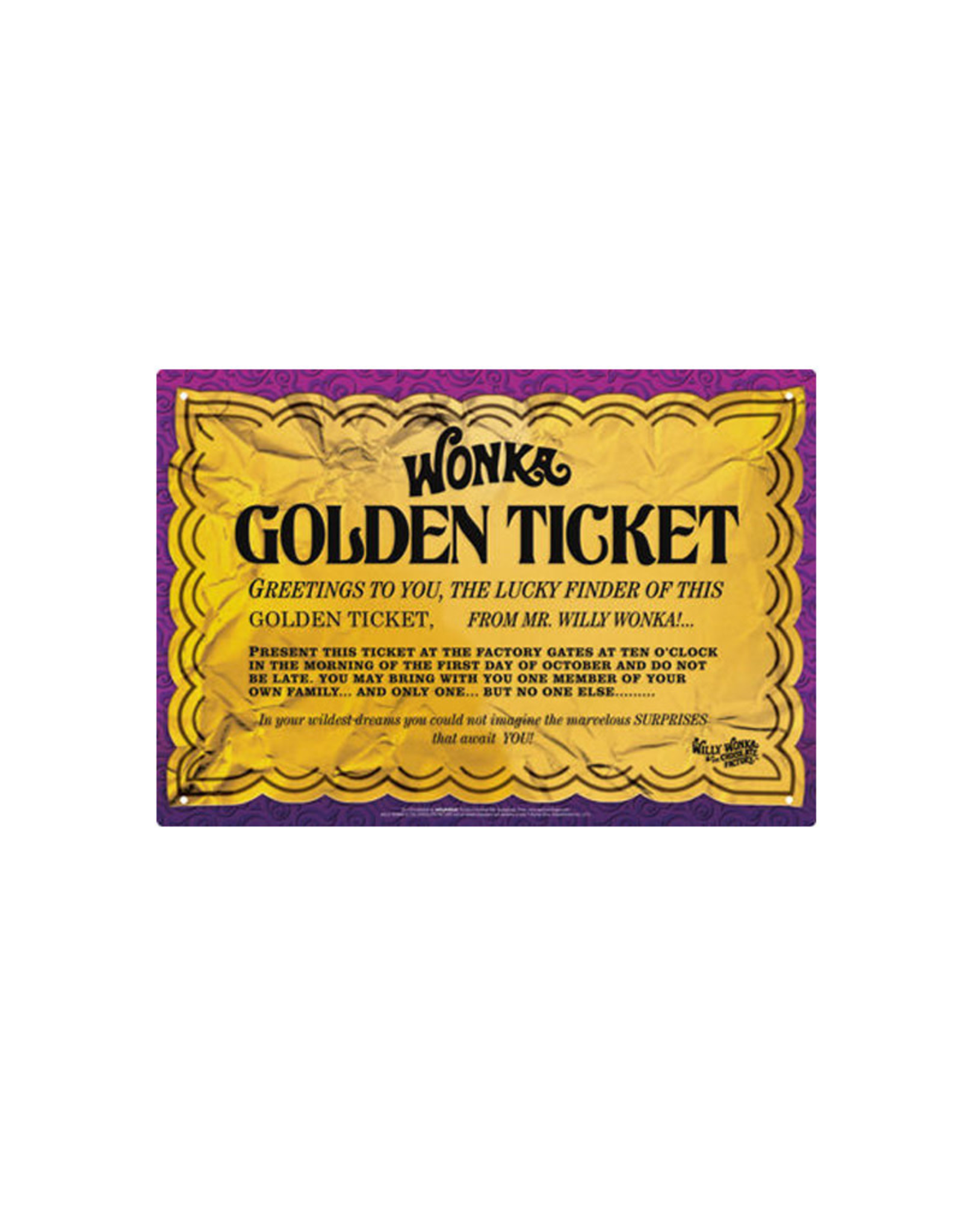 Wonka ( Tin signs 8.5cm x 11.5cm) Golden Ticket