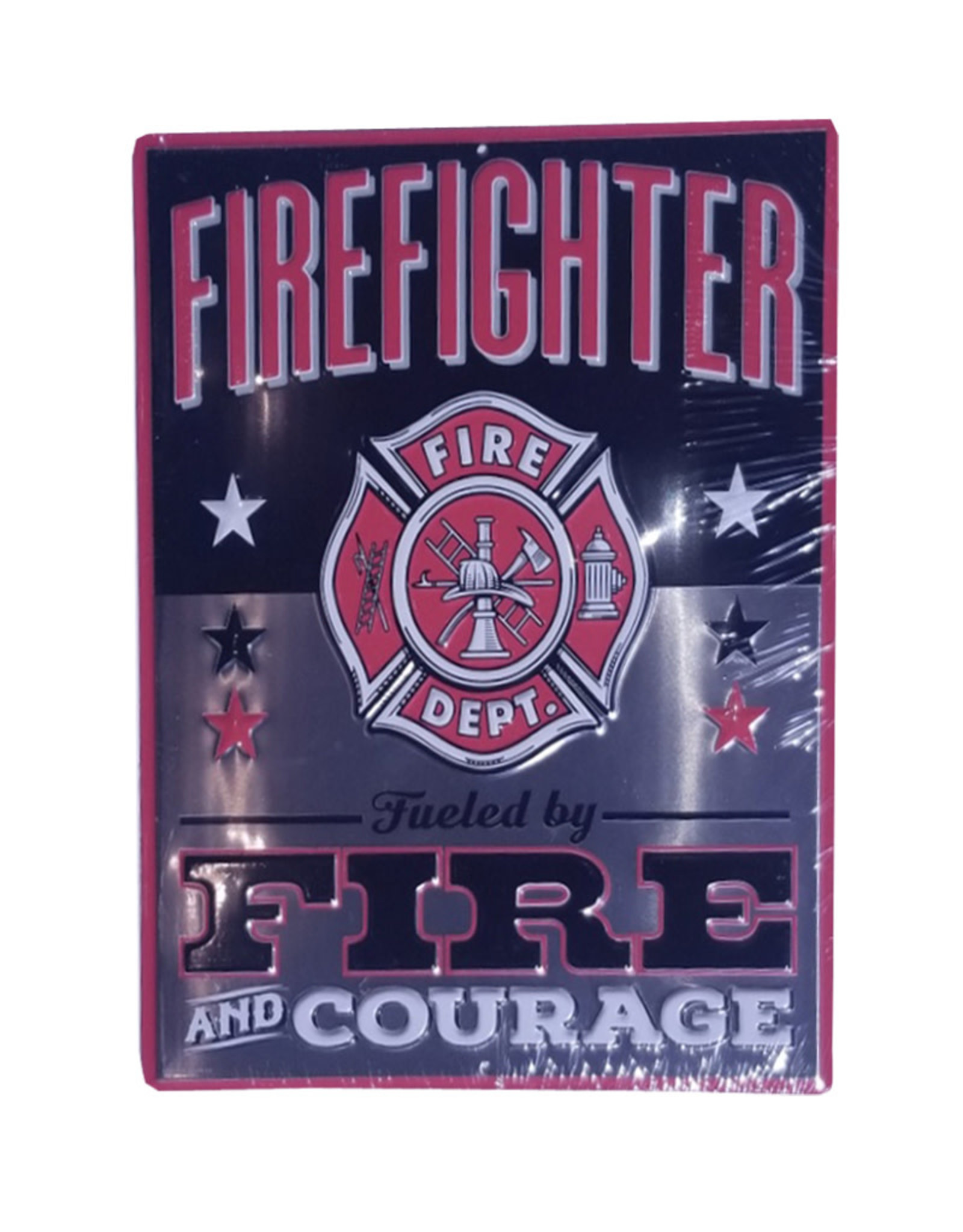 FireFighter ( Embossed metal plate ) Fire and courage