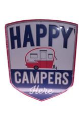 Happy Campers Here ( Embossed Metal Plate )