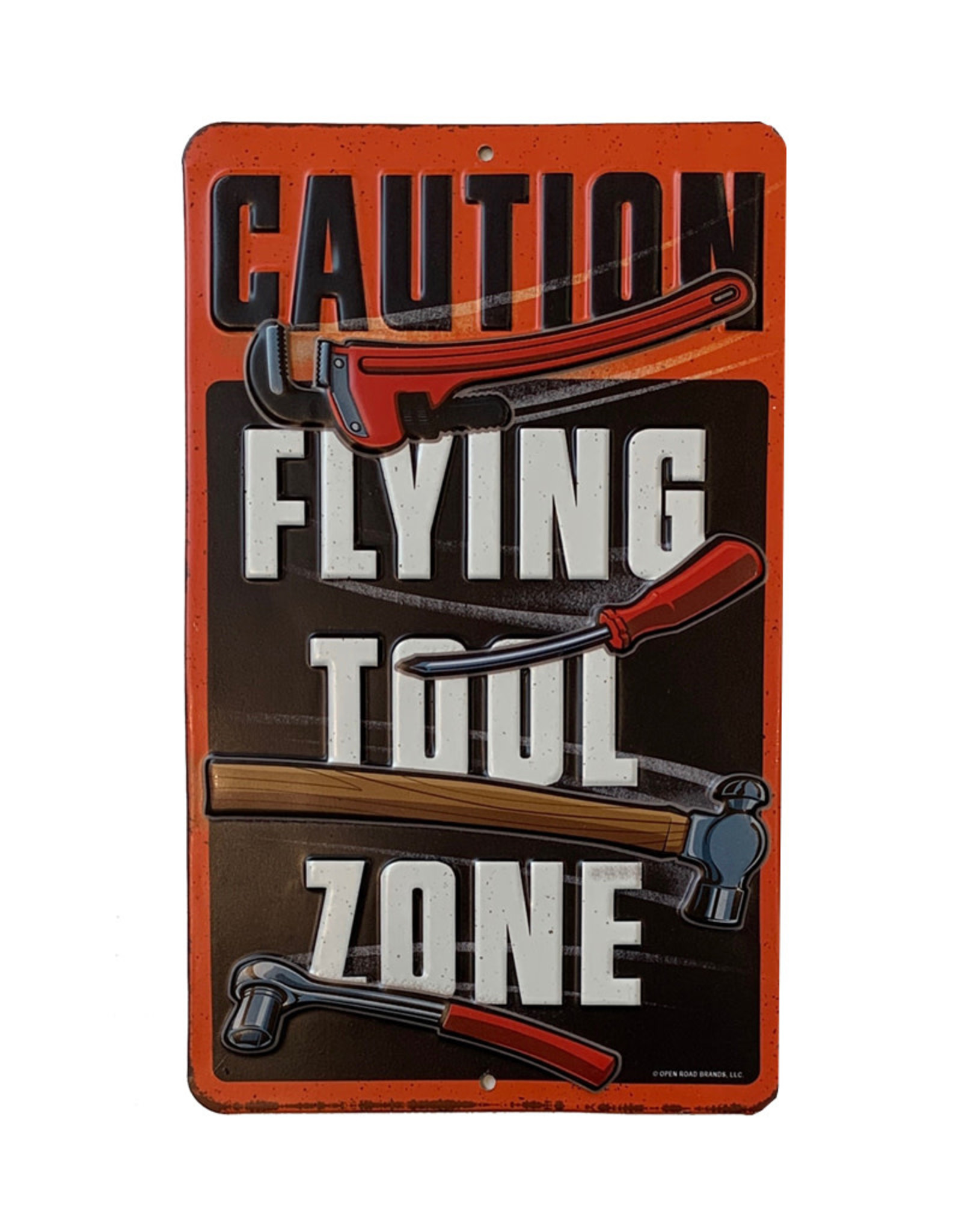 Caution flying tool zone ( Embossed Metal Plate )