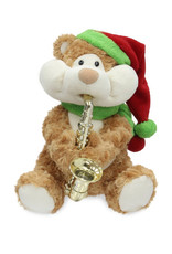 Singing Saxophone Bear (  Cuddle Barn ) Santa Claus is Coming to Town