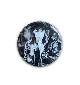 Elvis Elvis Presley ( Macaron ) En Cuir Noir