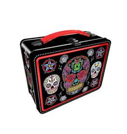 Crâne de Squelette Multicolore ( Boîte à Lunch en Métal )