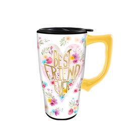 Best Friend Ever ( Ceramic Travel Mug ) Flowers