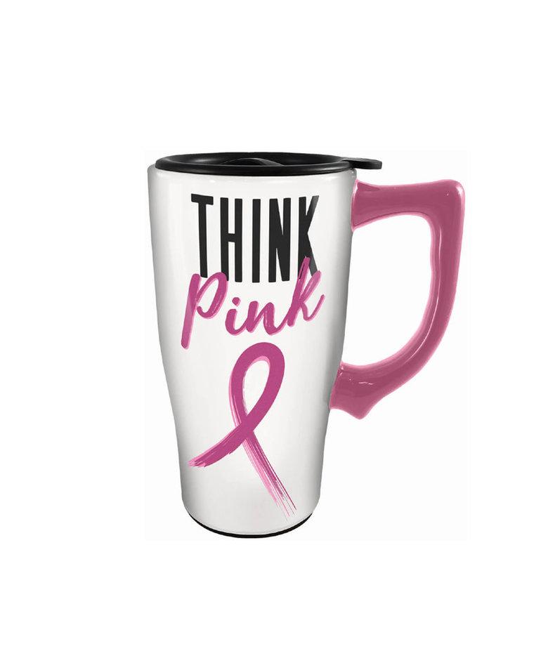 Think Pink ( Ceramic Travel Mug )