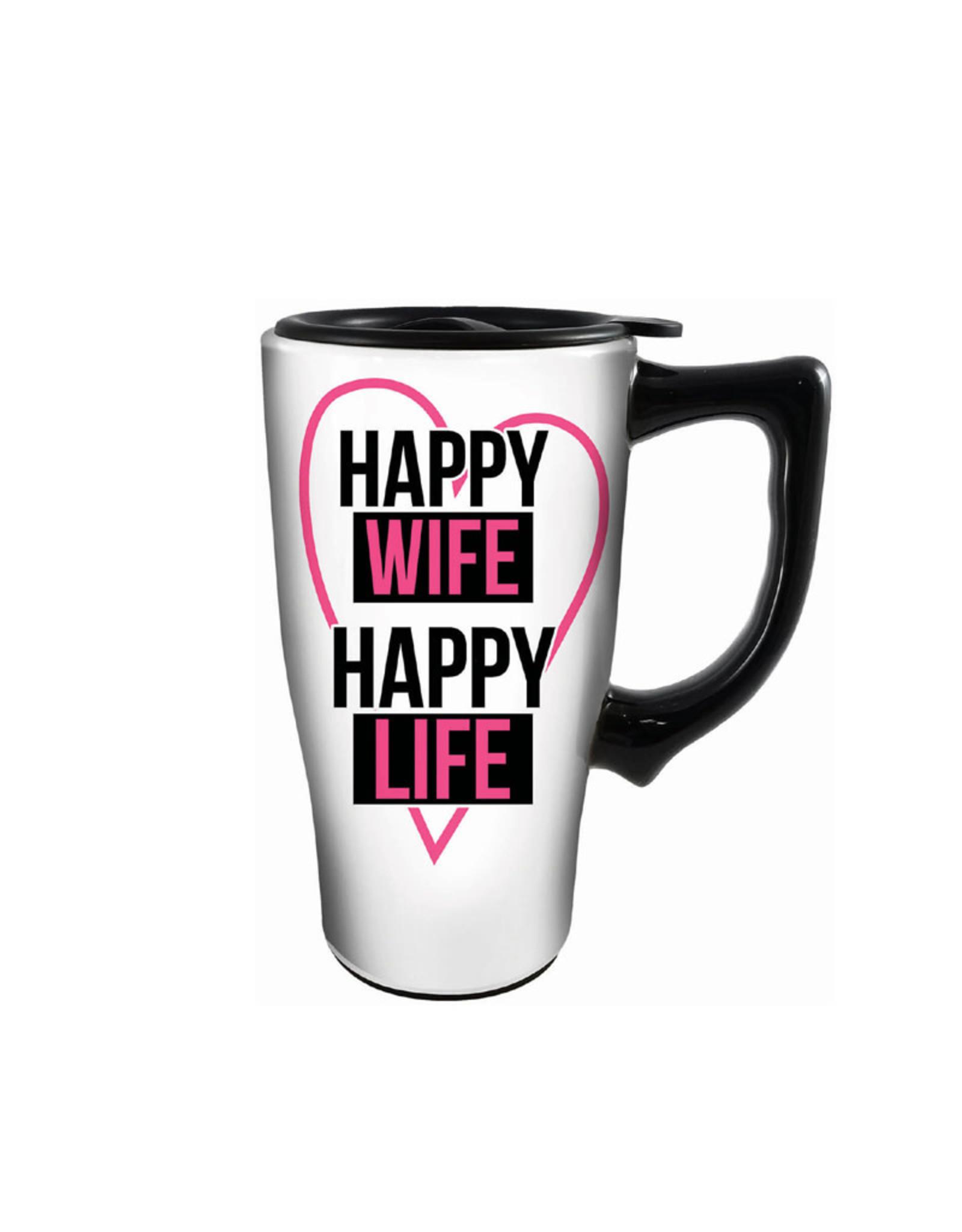 Happy Wife Happy Life ( Ceramic Travel Mug )