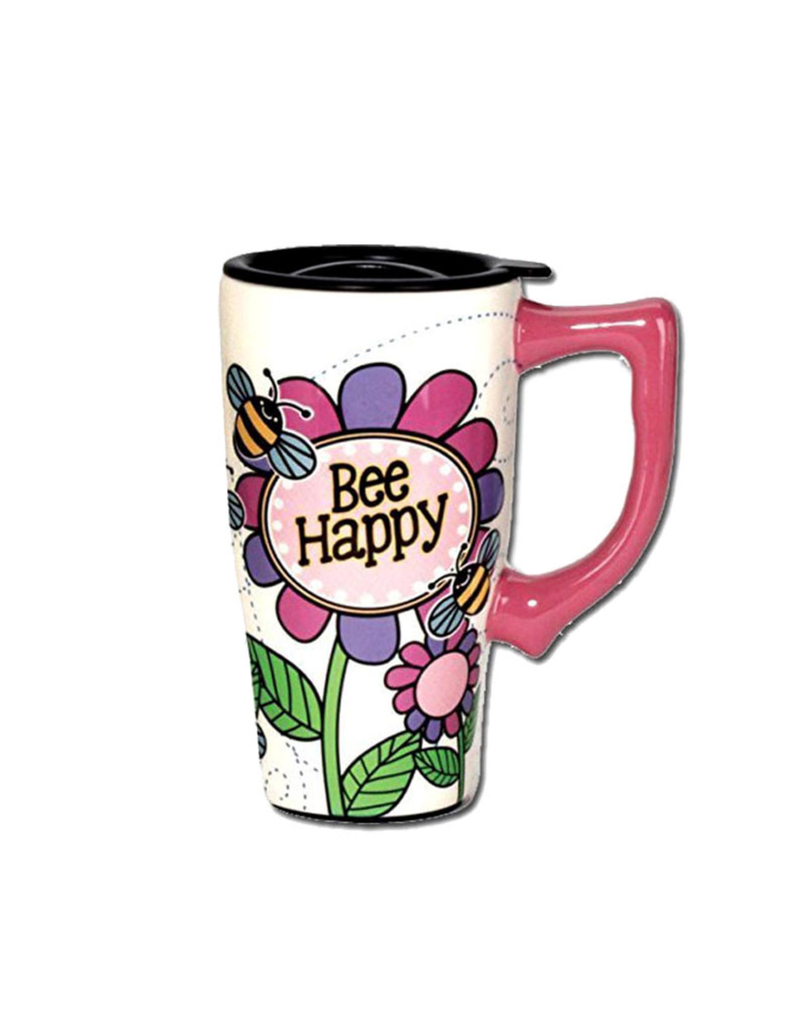Bee Happy ( Ceramic Travel Mug )