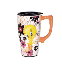 Looney Tunes ( Ceramic Travel Mug ) Tweety Flowers
