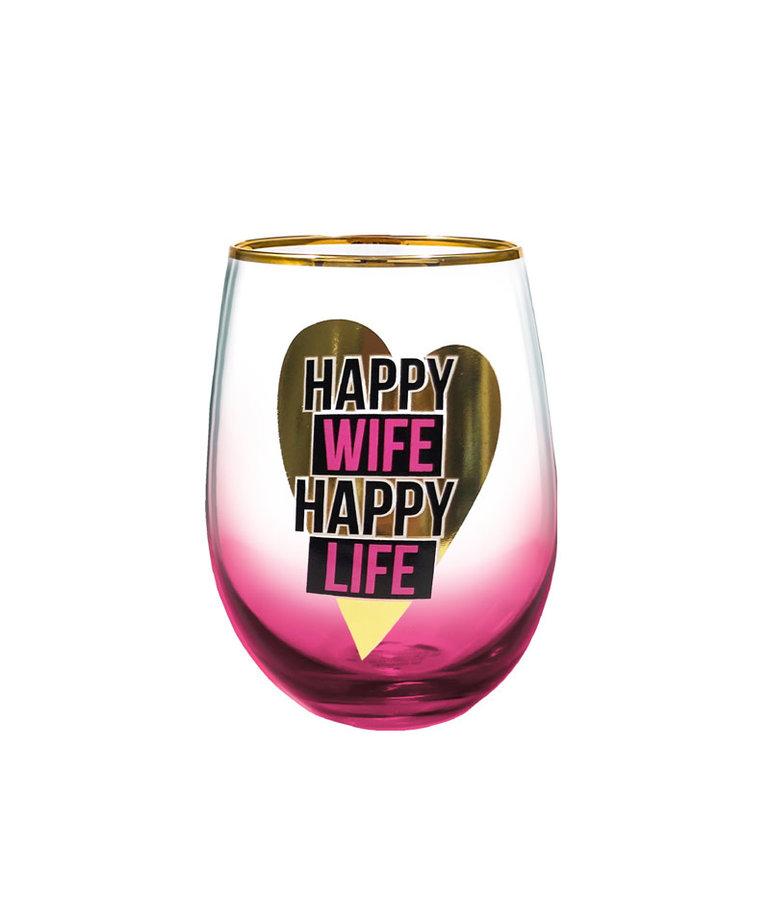 Happy Wife Happy Life ( Wine Glass )