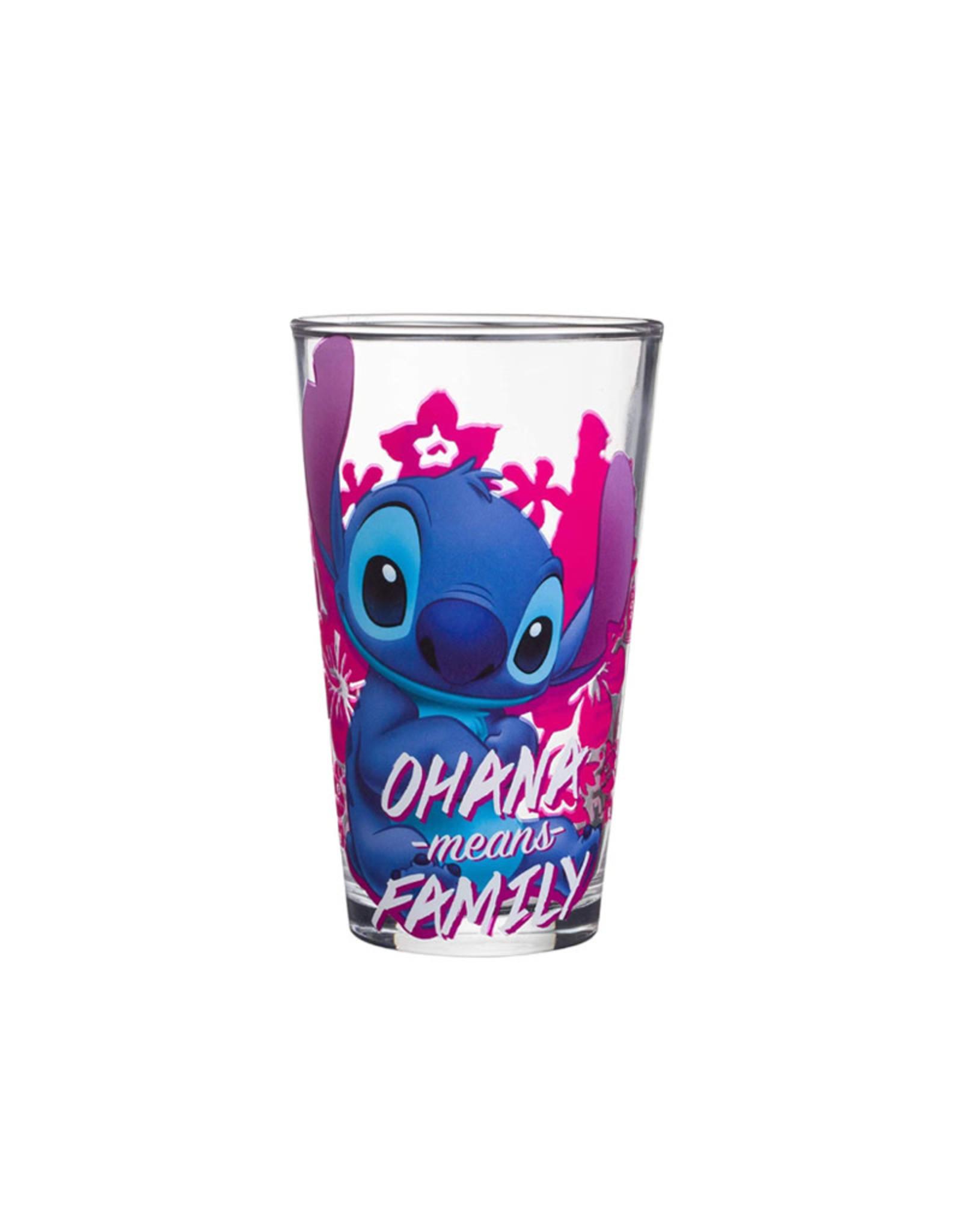 Disney ( Glass ) Stitch Ohana Means Family Pink