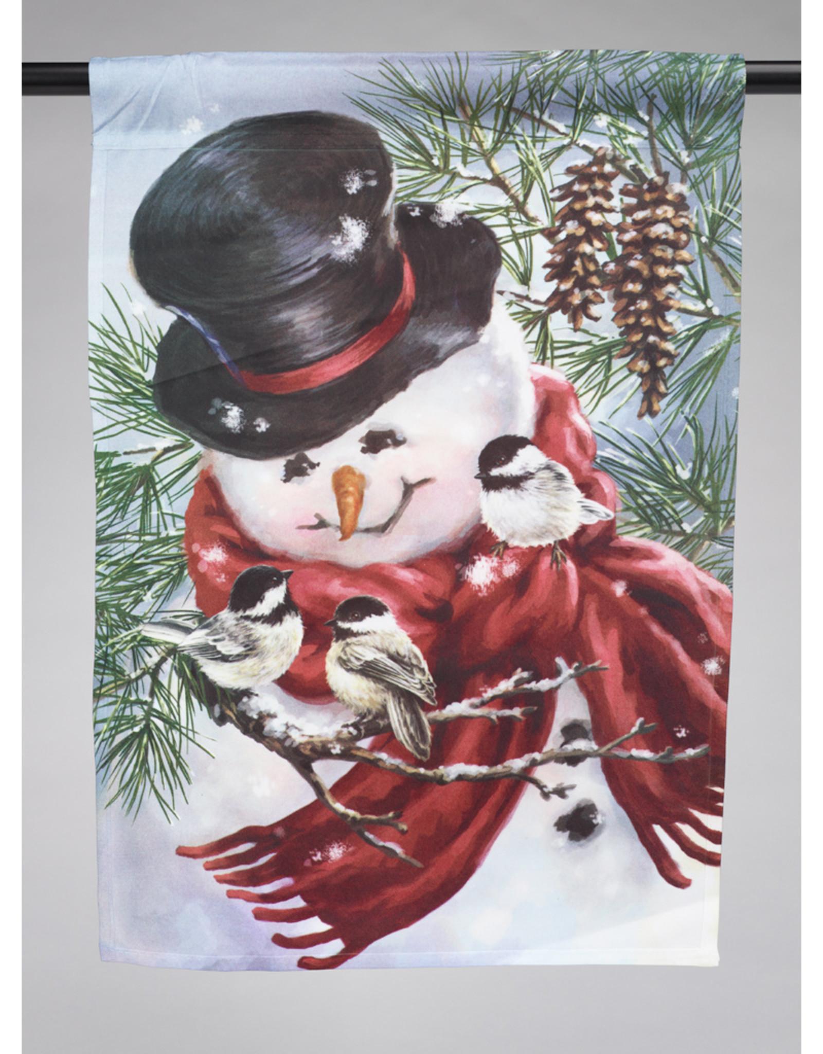 Snowman Snuggles Garden Flag