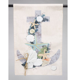 Coastal Christmas Anchor Lined Garden Flag