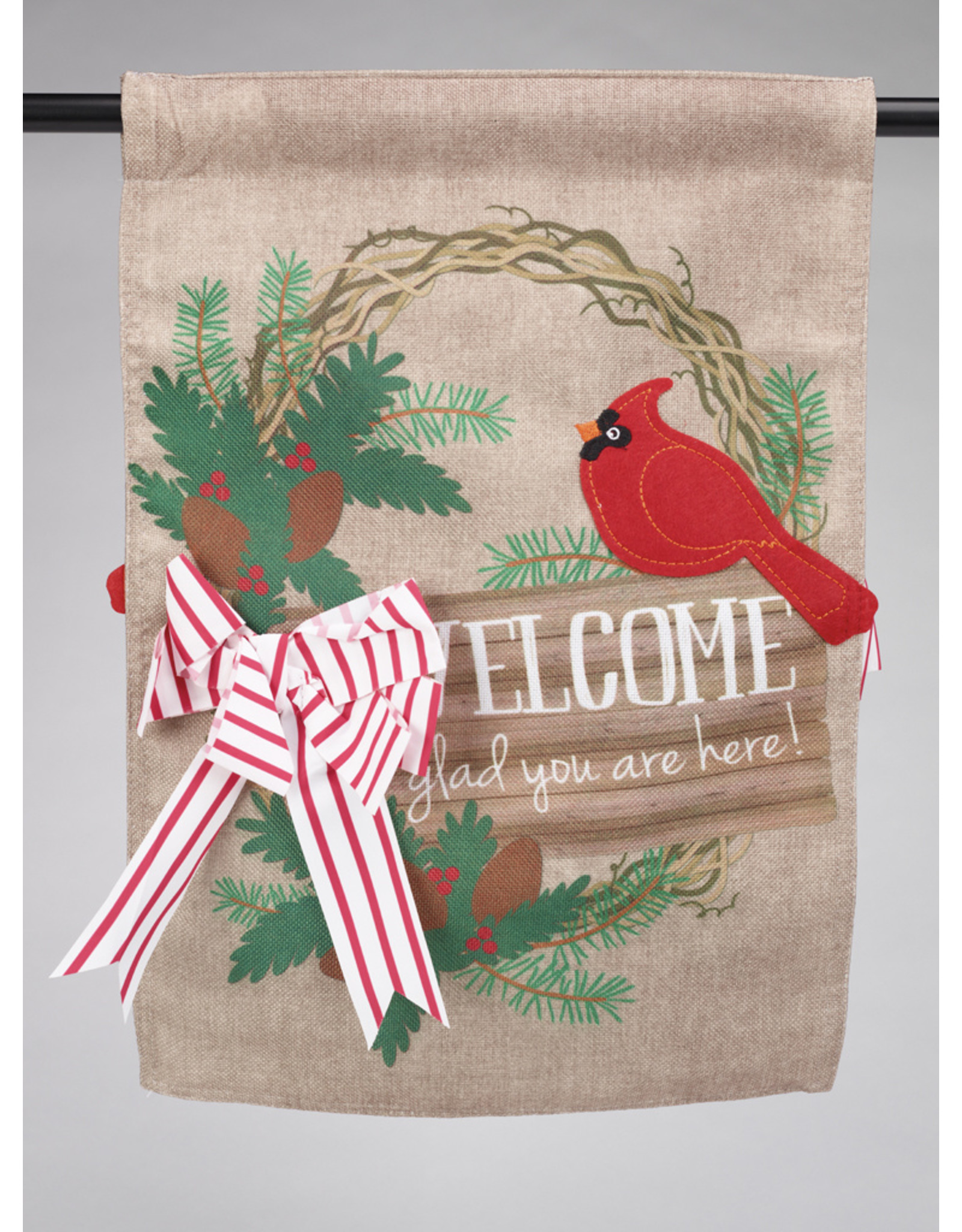 Glad You Are Here Burlap Garden Flag