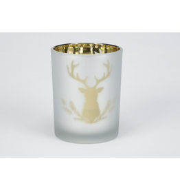 Metallic Forest Icons Glass Candle Holder Large