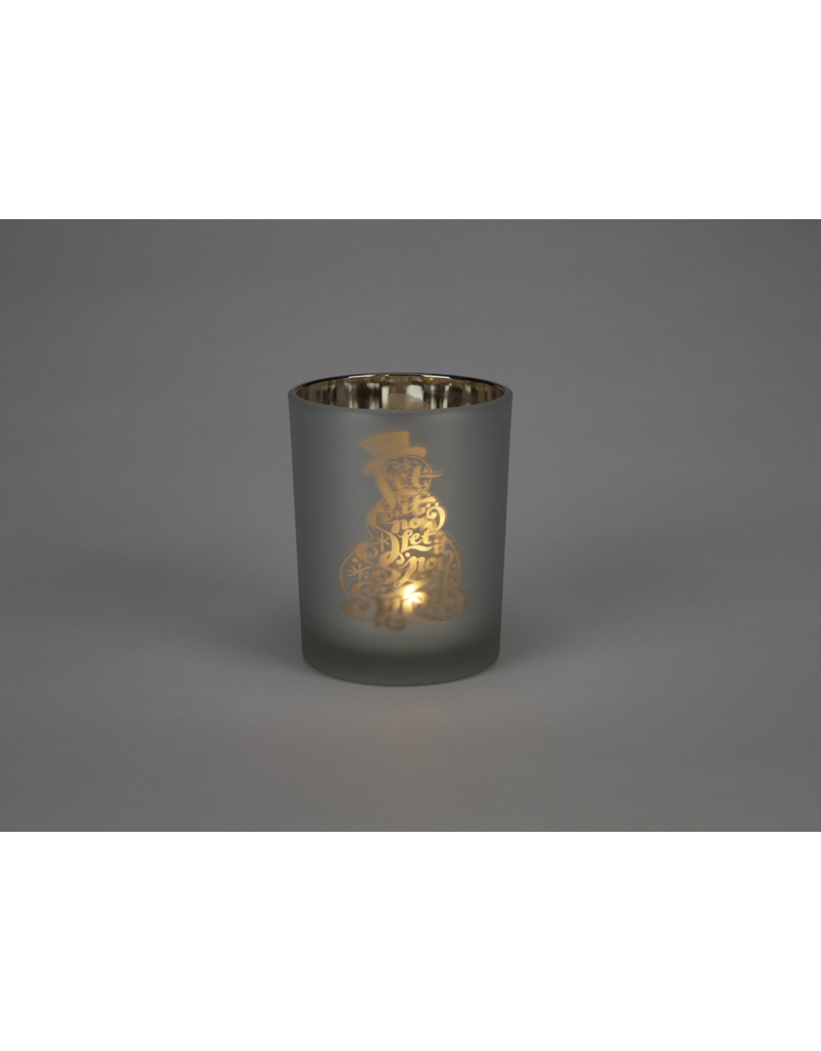 Winter Icons Glass Candle Holder Large