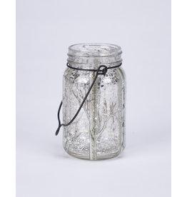 LED Glass Mason Jar Glittery Birch Branches
