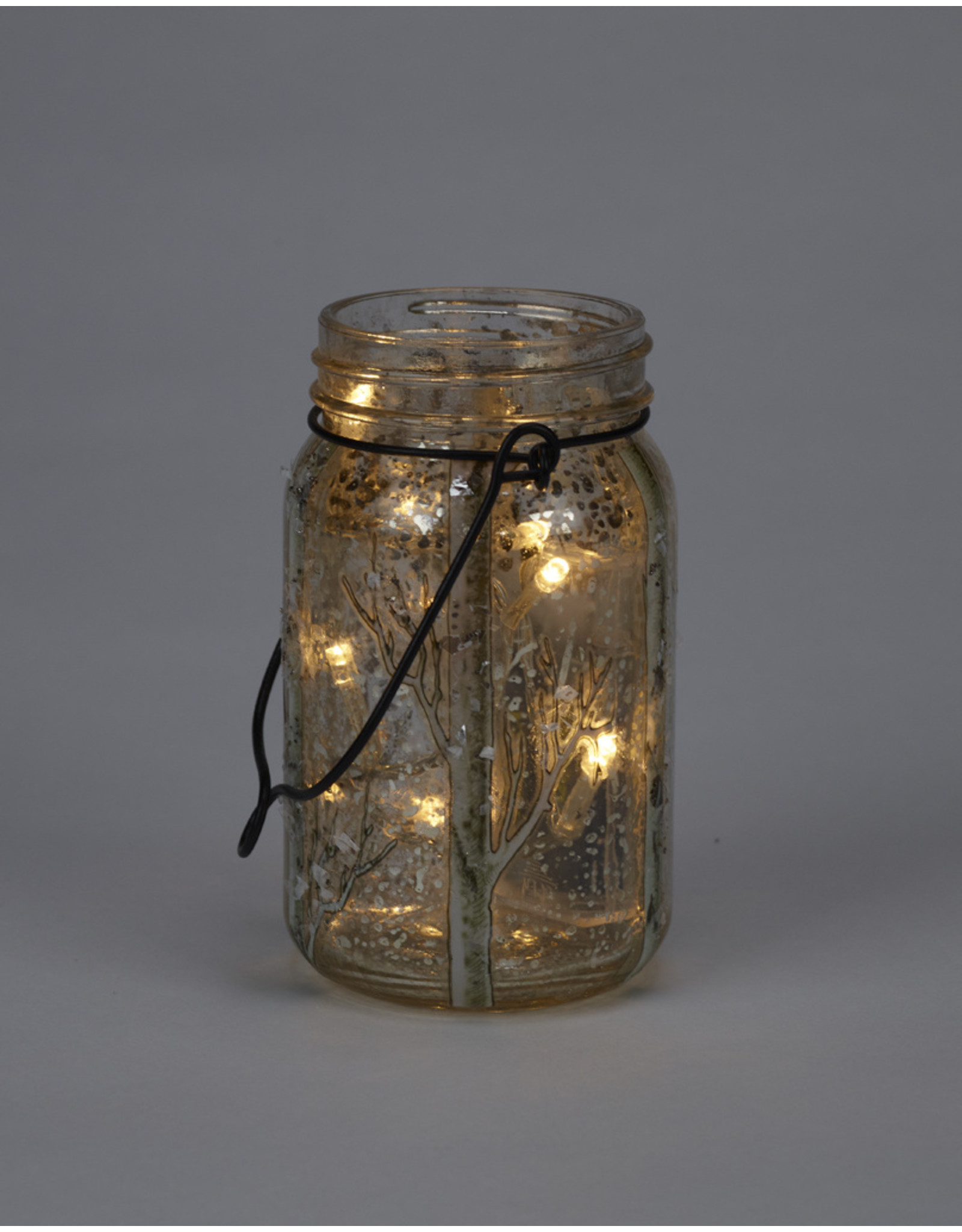 LED Glass Mason Jar Glittery Birch Branches