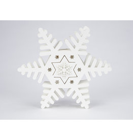 LED White Wooden Snowflake Wall Decor