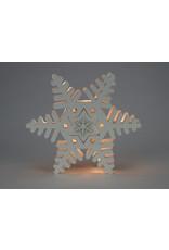LED White Wooden Snowflake Wall Decor