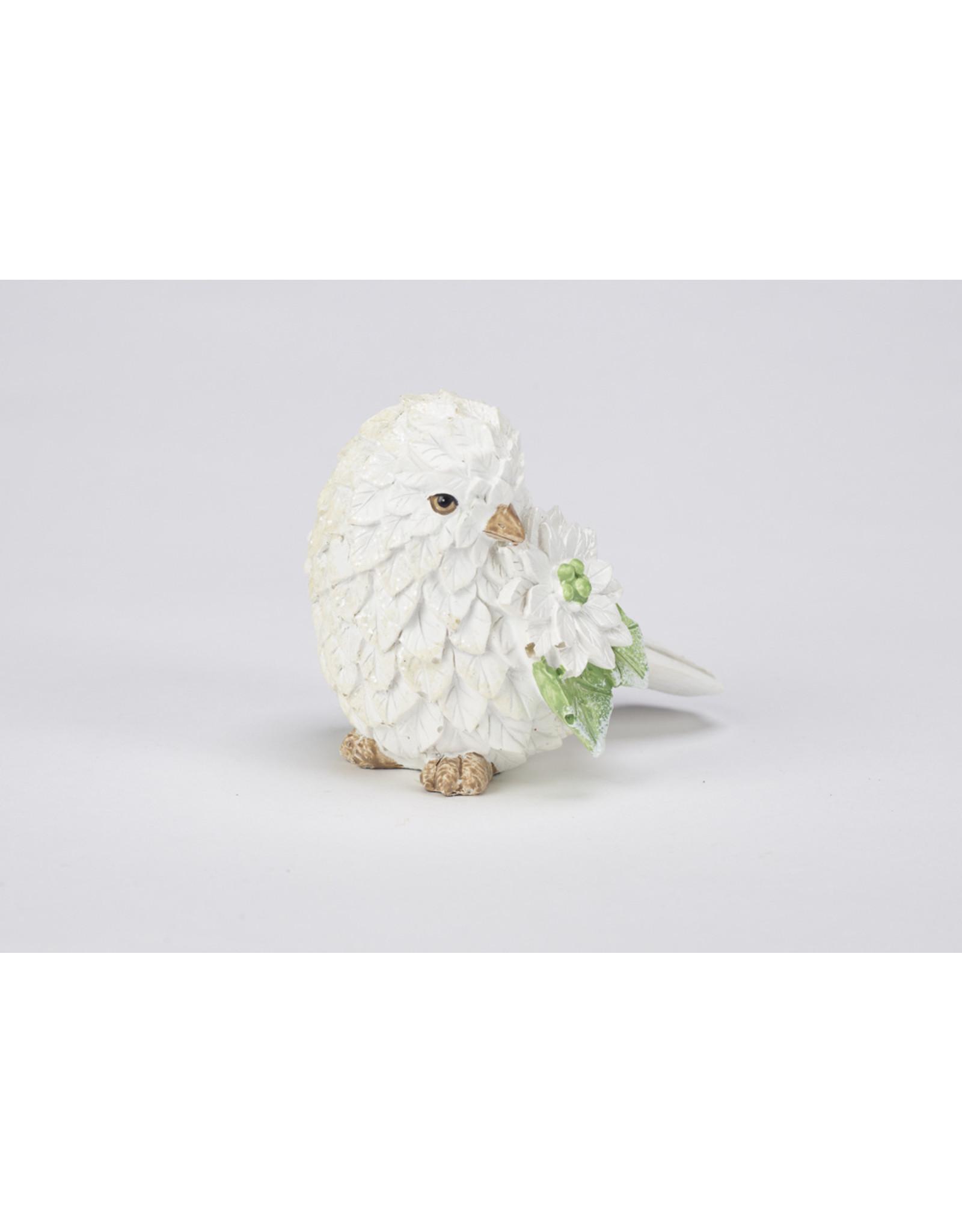 White Polystone Bird Table Decor Assorted