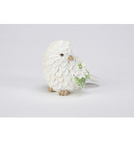 White Polystone Bird Table Decor Assorted