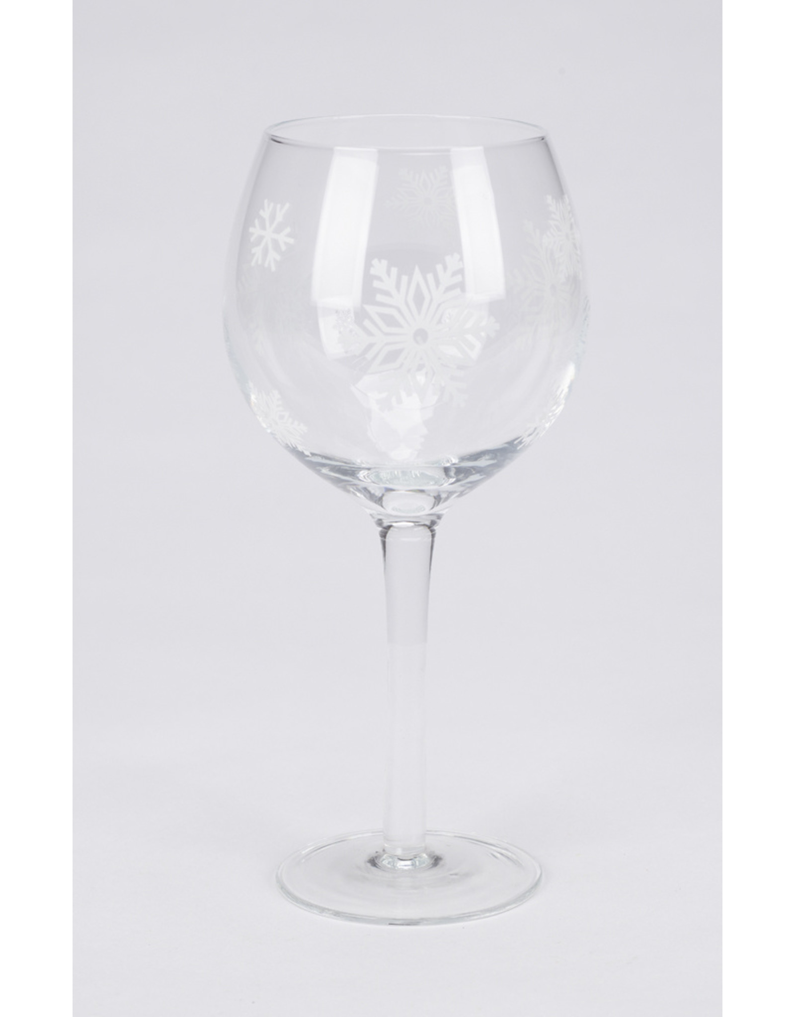 Frosted Snowflake Stemmed Wine Glass