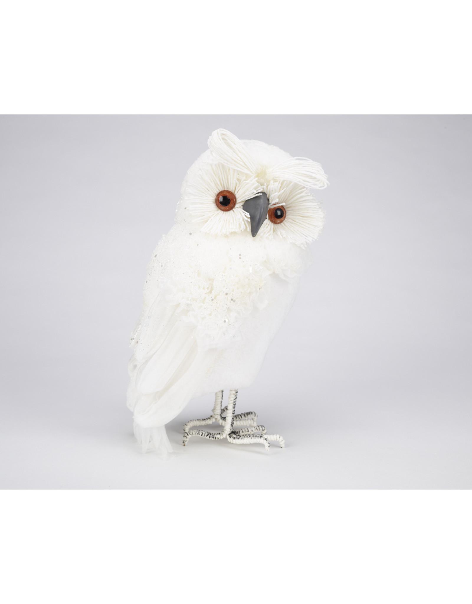 """14"""" Winter White Owl Table Decor"""