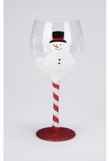 Snowman Glitter Wine Glass