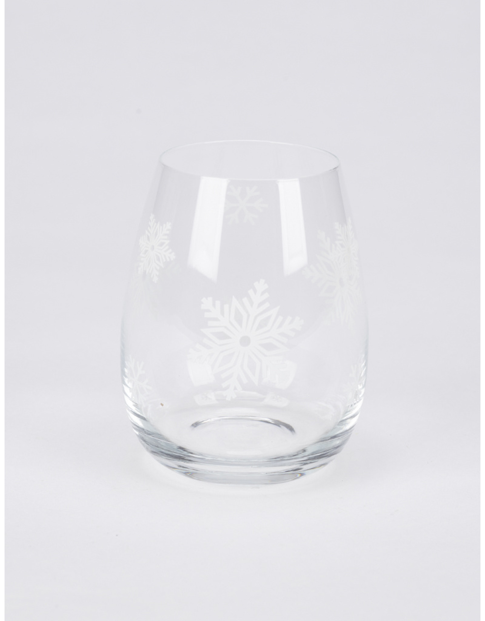 Frosted Snowflake Stemless Wine Glass