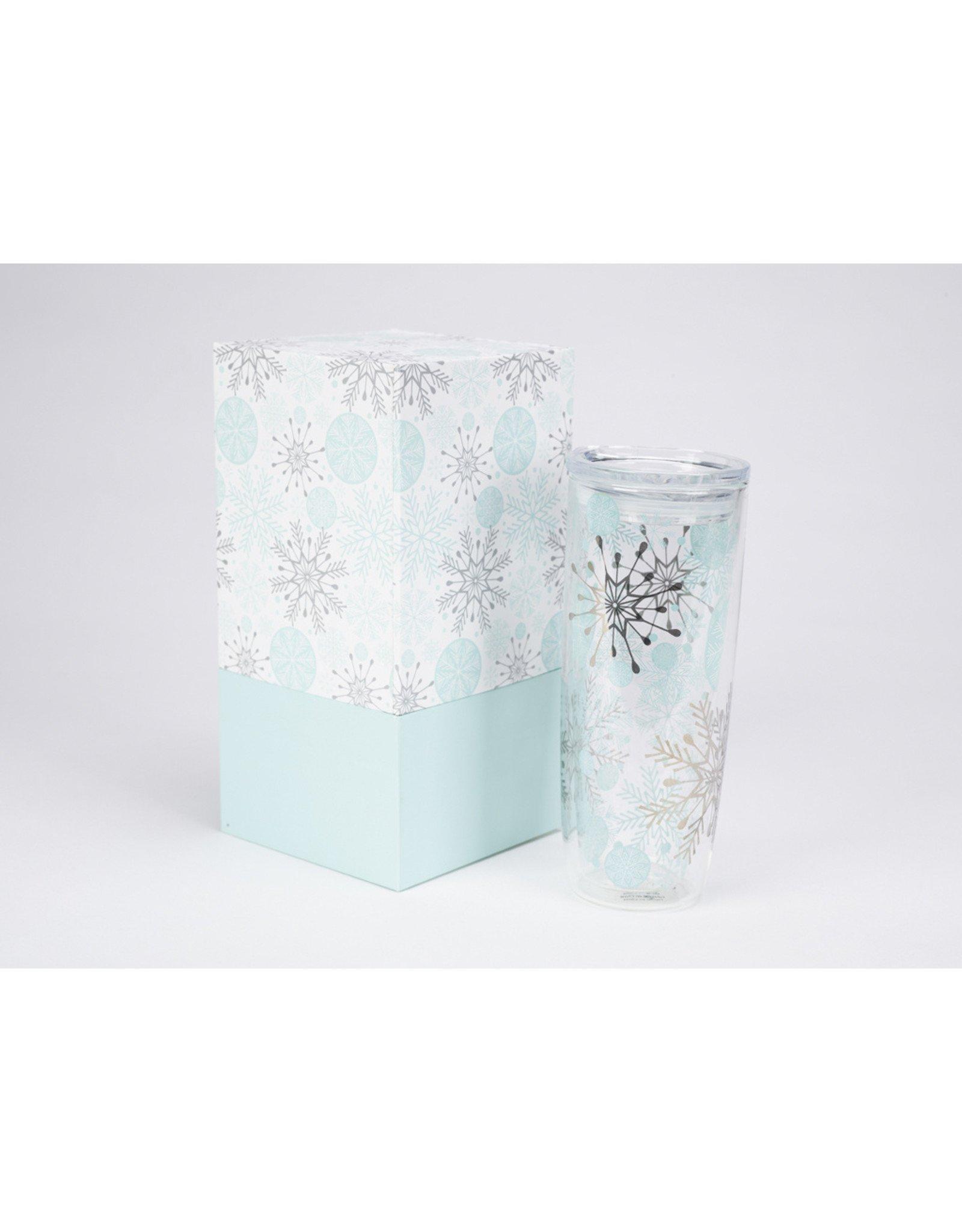 Boxed Double Wall Glass Tumbler Snowflakes