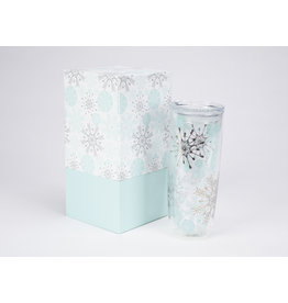 Boxed Double Wall Glass Tumbler Snowflakes