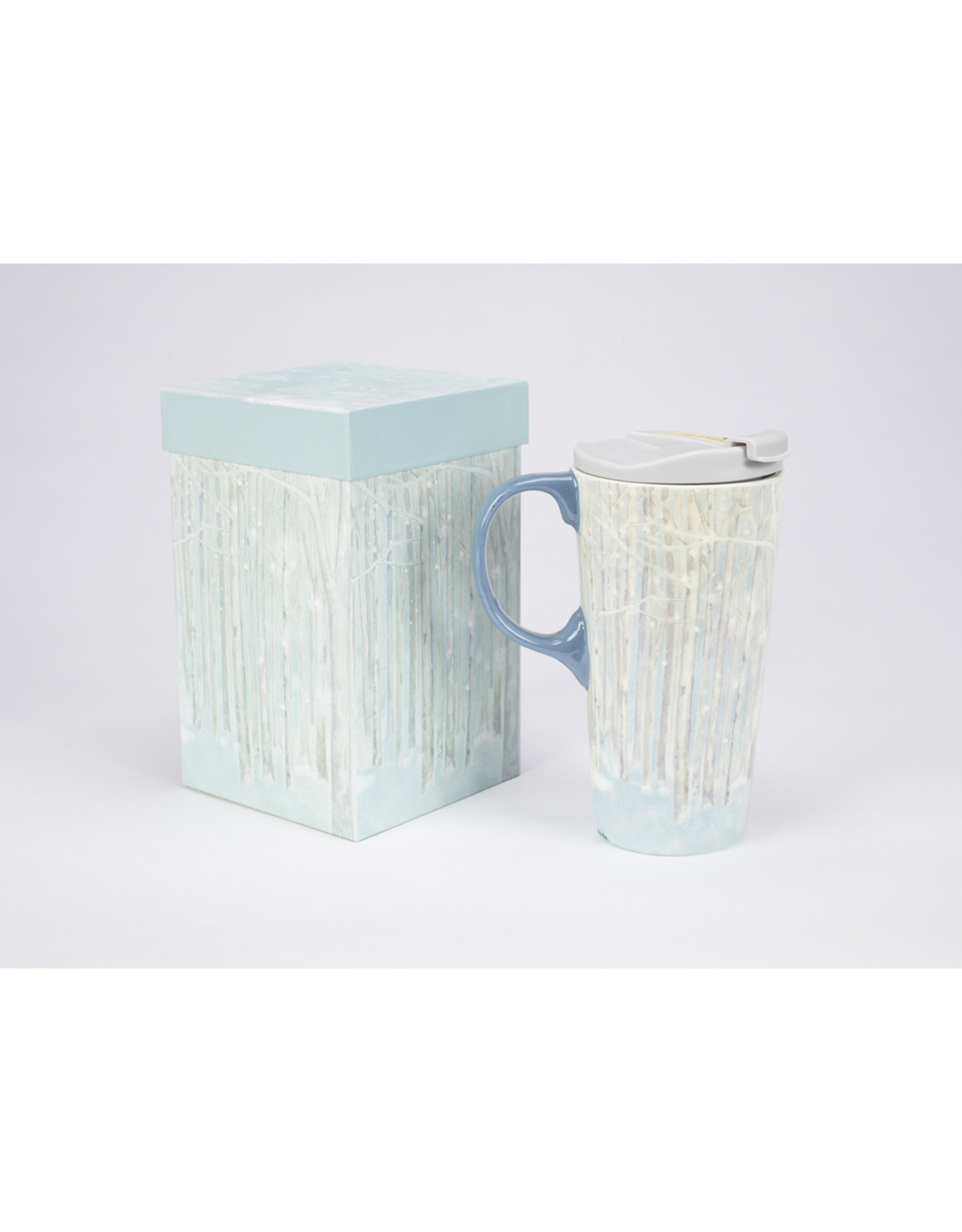 "Ceramic Travel Mug ""Birch Forest"""