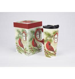 """Ceramic Travel Mug """"Rustic Garden Holly"""""""