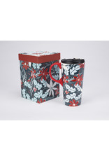 "Ceramic Travel Mug Silicone Painted Handle ""Blue Holly"""
