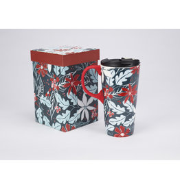 "Ceramic Travel Mug Silicone Painted Handle ""Blue Holly"""