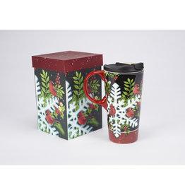 "Ceramic Travel Mug ""Cardinal Snowflake"""